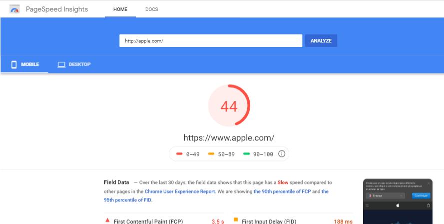 تست سرعت سایت اپل در ابزار گوگل