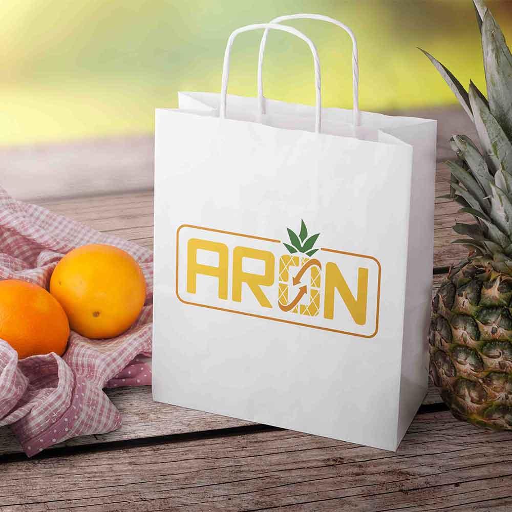 موکاپ کیسه میوه طراحی لوگو برند صادرات میوه آران