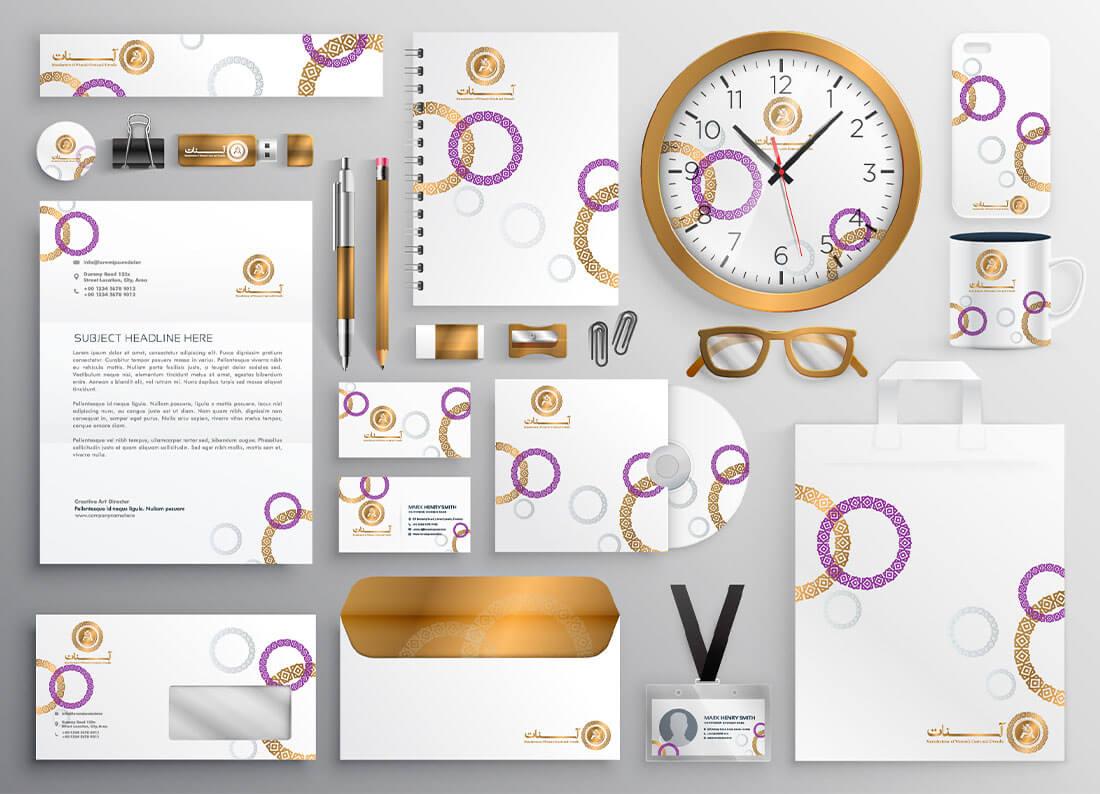 طراحی هویت بصری هلدینگ پوشاک بانوان آسنات