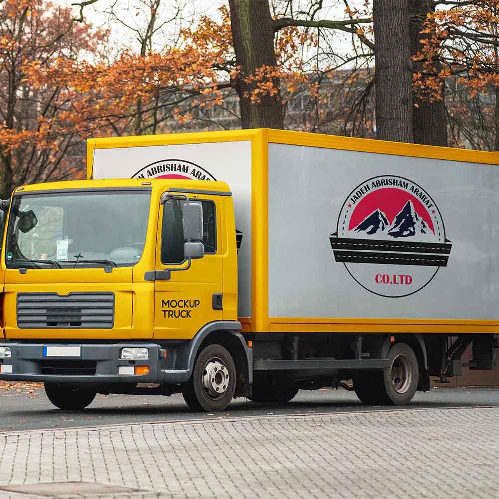 موکاپ کامیونت طراحی لوگو شرکت جاده ابریشم آرارات