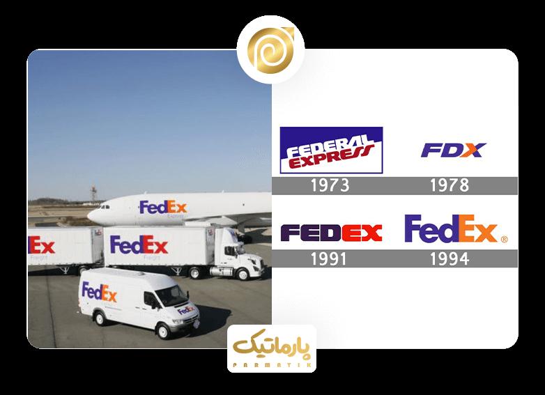 تغییرات لوگوی کمپانی fedex از 1973 تا 1994