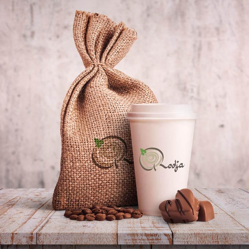 موکاپ بسته بندی قهوه رستوران های روجا