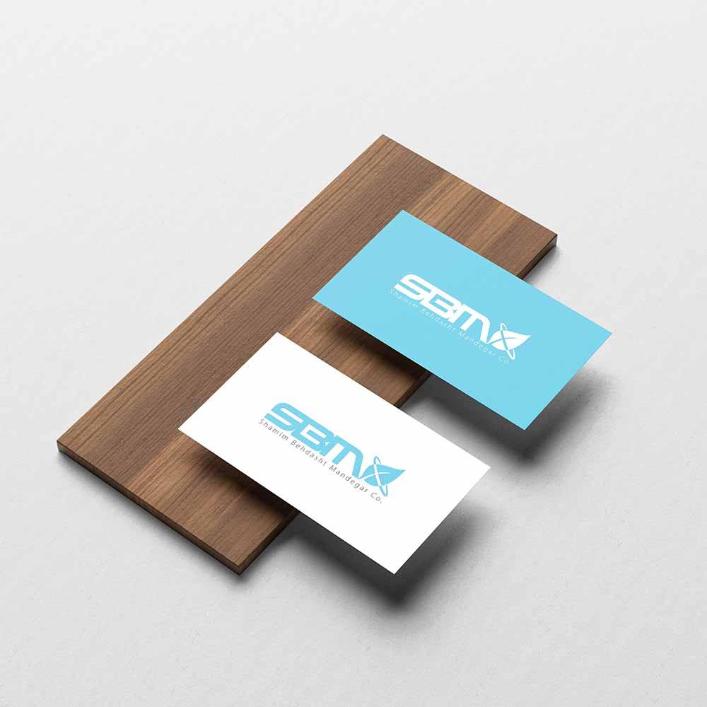 موکاپ کارت ویزیت طراحی لوگو شرکت تولیدات لوازم بهداشتی شمیم بهداشت ماندگار